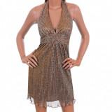 Rochie Delicata Auriu cu Argintiu