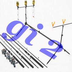 Set de 3 lansete EPOXY 2, 7m cu mulinete MELALUKA 4rul, si rod pod full echipat - Set pescuit
