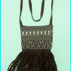 CHIC → Poseta—geanta fete, din tricot, draguta ✓, Maro, Material crosetat, Medie