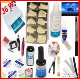 KIT UNGHII FALSE GEL SET MANICHIURA  UV,LAMPA UV PILA ELECTRICA CADOU, Sina