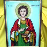SF.M.MC.PANTELIMON semnata I.IACOB - pictura veritabila pe sticla, icoana - Pictor roman