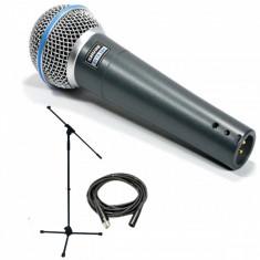 PROMOTIE! KIT COMPLET Microfon Shure Incorporated SHURE BETA 58A CU STATIV Microfon Shure Incorporated INCLUS, CABLU, BORSETA SHURE, NUCA STATIV INCLUSE!