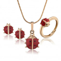 Set bijuterii fetite placat cu aur 18k - buburuze