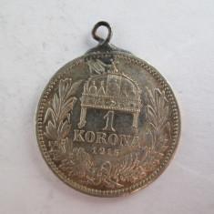 #107 1 Korona Ungaria 1915, moneda de argint, agatatoare, veche. Pandativ vechi provenit dintr-o salba, ( Corona Coroana )