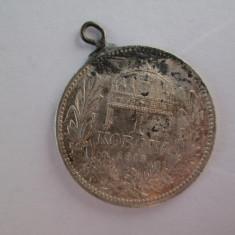 #106 1 Korona Ungaria 1915, moneda de argint, agatatoare, veche. Pandativ vechi provenit dintr-o salba, ( Corona Coroana )