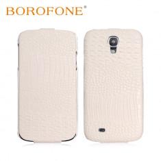 Husa LUX piele BOROFONE SAMSUNG S4 aspect piele crocodil, flip cover, alba