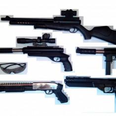 MEGA SET AIRSOFT 5 ARME CALIBRU 6mm+OCHELARI PROTECTIE+1000 BILE BONUS.NOI. - Arma Airsoft