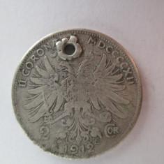 #87 2 Corona Austria 1912, moneda mare argint, gaurita pentru agatatoare, veche. Pandativ vechi provenit dintr-o salba ( korona, coroane )