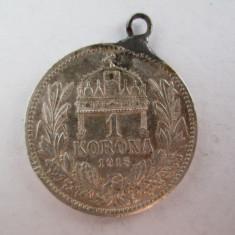 #99 1 Korona Ungaria 1915, moneda de argint, agatatoare, veche. Pandativ vechi provenit dintr-o salba, (Corona Coroana )