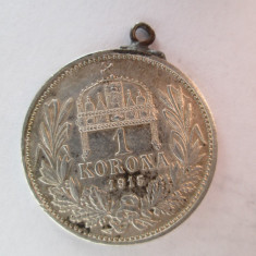 #92 1 Korona Ungaria 1915, moneda de argint, agatatoare, veche. Pandativ vechi provenit dintr-o salba, (Corona Coroana )