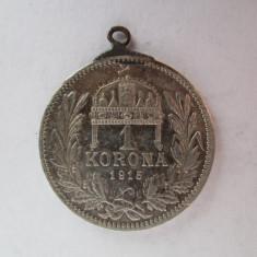 #95 1 Korona Ungaria 1915, moneda de argint, agatatoare, veche. Pandativ vechi provenit dintr-o salba, (Corona Coroana )