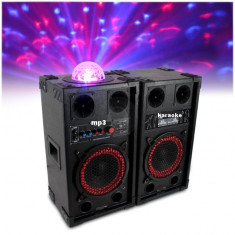BOXE ACTIVE/AMPLIFICATE CU MIXER INCLUS SI MP3 PLAYER PT.KARAOKE, BASS 10 TOLI, 200 WATT+LUMINA DISCO LED +2 MICROFOANE BONUS! - Echipament karaoke