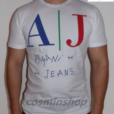 Tricouri ARMANI JEANS Model NOU de Sezon !!! - Tricou barbati, Marime: XXL, Culoare: Alb, Maneca scurta, Bumbac