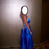 Rochie de seara, Marime: 36, Culoare: Albastru, Maxi, Fara maneca, Satin