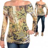 Bluza cu Imprimeu Modern Verde cu Galben - Bluza dama, Marime: S, M, L, Culoare: Din imagine, Maneca lunga, Poliester