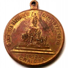 MEDALIE ROMANIA Carol I Regina Elisabeta Craiova 1912 razboi 1877-1878 33 mm ** - Medalii Romania