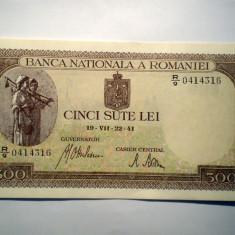 144. ROMANIA 500 LEI 1941 SERII CONSECUTIVE VF/AUNC SR. 316-317 BNR ORIZONTAL - Bancnota romaneasca
