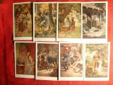 13 Ilustrate -Basme de  Fratii Grimm ,semnat O.Kubel