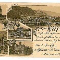 27 - L i t h o, BRASOV - old postcard - used - 1897 - Carte Postala Transilvania pana la 1904, Circulata, Printata