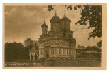 100 - Arges, CURTEA de ARGES, Monastery - old postcard, real PHOTO - used, Circulata, Printata