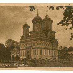100 - Arges, CURTEA de ARGES, Monastery - old postcard, real PHOTO - used - Carte Postala Muntenia dupa 1918, Circulata, Printata