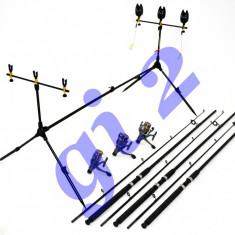 SET 3 LANSETA/LANSETE 2, 7m, CU MULINETE MELALUKA 4 RULMENTI RODPOD FULL ECHIPAT - Set pescuit