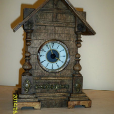 Ceas mecanic casuta lemn Germania - Ceas de masa