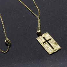 Pandantiv din aur de 14 karate (talisman, cruciulita aur, 14k) - Pandantiv placate cu aur