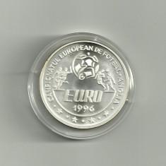 ROMANIA 100 LEI 1996 CE FOTBAL - ANGLIA, ARGINT, certificat BNR - UNC - Moneda Romania