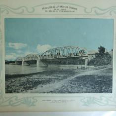 Plansa Podul pentru sosea peste Arges la Copaceni de 170 m lungime Vedere generala din aval 1903
