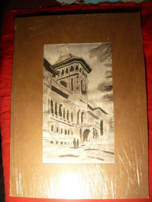 Tablou Acuarela si Tus - Muzeul de Istorie PCR ,semnat S. Vergulescu, 16x28 cm foto