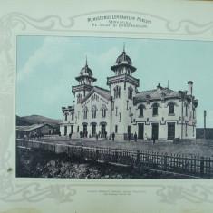 Plansa Calea ferata Targu Ocna - Palanca Gara Comanesti 1903