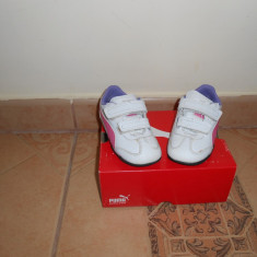 Adidasi puma - Adidasi copii Puma, Marime: 23, Culoare: Alb, Fete, Alb
