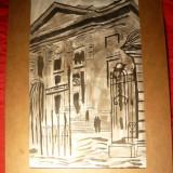 Tablou- Acuarela si Tus-Atheneul Roman, semnat S.Vergulescu, 30, 5 x19, 5 cm - Pictor roman