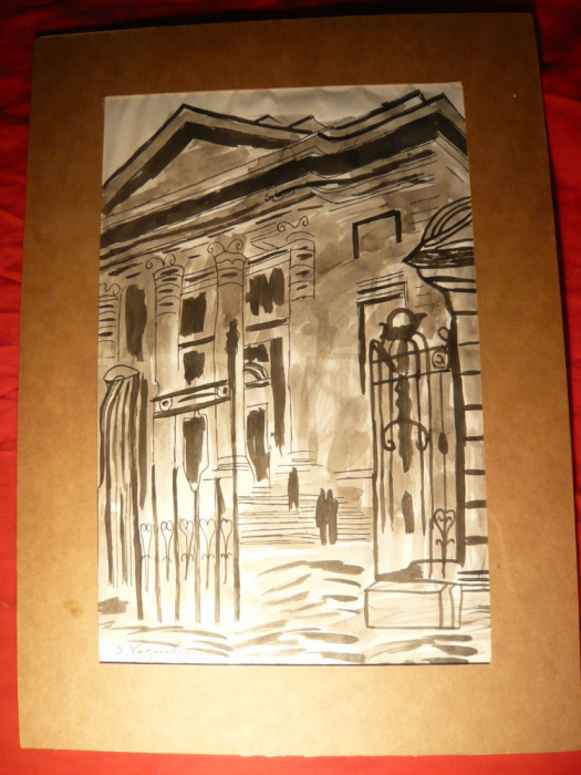 Tablou- Acuarela si Tus-Atheneul Roman, semnat S.Vergulescu , 30,5 x19,5 cm