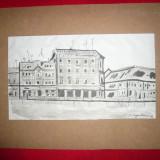Tablou- Acuarela si Tus-Hanul lui Manuc, semnat S.Vergulescu, 31, 5 x18 cm - Pictor roman