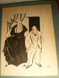 Album 22 Caricaturri semnate Iosif Ross , interbelice , dim. 21 x26,7 cm