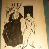 Album 22 Caricaturri semnate I. Roh, interbelice, dim. 21 x26, 7 cm - Pictor roman