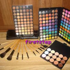Trusa machiaj Mac Cosmetics profesionala 180 culori MAC + set 12 pensule machiaj make up Bobbi Brown par natural + fond de ten concealer paleta fard farduri