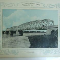 Plansa Podul pentru sosea peste Arges la Mihailesti de 170 m lunigme Vedere generala 1903