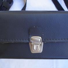 Geanta-toc aparat foto piele neagra