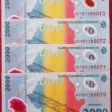 ROMANIA LOT 4 x 2000 LEI 1999 CU ECLIPSA NECIRCULATE UNC sr 007D1195070 - 73 ** - Bancnota romaneasca