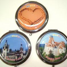 Set 3 oglinzi poseta Souvenir Romania ( Litoral, Peles, Bran), 7 cm,