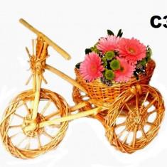 Tricicleta din Rachita Decor Casa/Gradina suport Cos pentru Flori