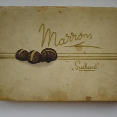 Cutie pentru bomboane - anii 30 - Marrons / Suchard - Cutie Reclama