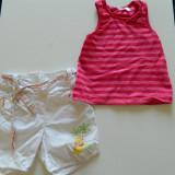 Set de doua piese pentru fetite, ideal vara, marimea 1-2 ani, pentru 80-86 cm, pantaloni scurti si maieu