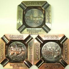 Scrumiere de metal Souvenir Romania ( Peles, Bran, Vlad Tepes), set 3 buc - Tutungerie