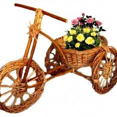 Decoratiuni gradina Suport flori Ornament gradina Tricicleta din rachita si lemn
