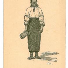 142 - Basarabia, Port Popular, ethnic woman - old postcard - unused, Necirculata, Printata