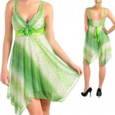 Rochie Verde cu Alb si cu Sclipiri de Diamant, M, S, Multicolor